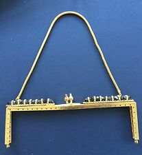Vintage Bag Handle - Gold Square Frame / black glass beads & Gold Chain Handle