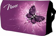 Purple Butterfly Bag Personalise with name Laptop bag / Sholder / School bag