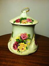 VINTAGE PORCELAIN HAND PAINTED and SIGNED BISCUIT/CRACKER JAR with LID