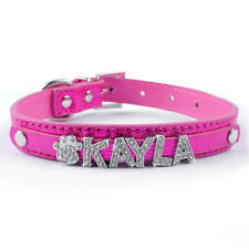 Personalized Snake Skin Leather Pet Dog Collars Customized Rhinestone Name Charm