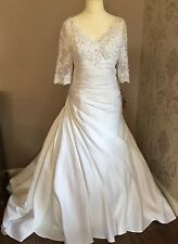 £350 Size 12-16 V Neck Sparkling Lace & Satin Mermaid Wedding Dress