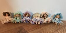 "Lot of 6 Victorian Miniature Dollhouse Porcelain Jointed Sitting Dolls 3"" tall"