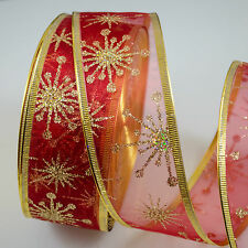 Sparkle Wired Ribbon Red Organza glitter twinkle snowflakes star 40mm Christmas