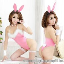 New Pink Sexy Lingerie babydoll teddy lady rabbit bunny halloween costume outfit