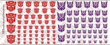Decals: Transformer and Decepticons logos - Waterslide Decals Various Sizes