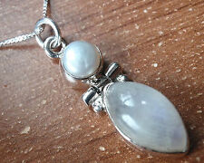Cultured Pearl and Moonstone 925 Sterling Silver Necklace Corona Sun Jewelry