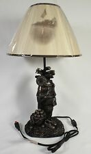 ANTIQUE GOLF BAG TABLE LAMP Electric Shade NEW Resin Bronze Balls Shoes Clubs