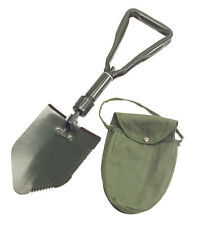 3-Way Folding Survival Camping Shovel With Storage Pouch/Case Military Style-New