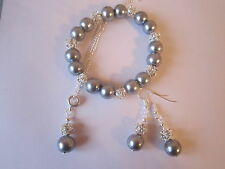 Silver Plated Jewellery Set in Silver Grey Pearl and Rhinestone Beads