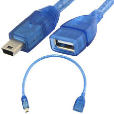 Molded blue 30cm mini usb 5pin male to usb 2.0 female otg sycn charging cable