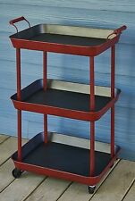 Vintage Style Red Rolling Bar Cart - Metal Utility Cart with Wheels Serving Tray