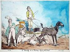 Thomas Rowlandson Family on a Journey Laying the Dust 12x8 Inch Vulgar Print