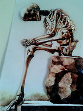 3-D Them Bones Hurt Print Poster Vintage Leather like feel large 11x17