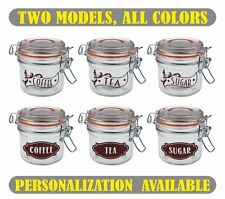Set of Coffee Tea Sugar Vinyl Stickers Labels for storage jars canisters caravan