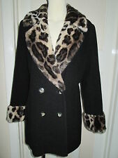 BLACK WOOL WITH FAUX FUR TAILORED AND FULLY LINED JACKET BRAND NEW, SIZE 14