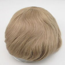 Blonde mens toupee lace front human hair replacement for men stock hairpiece