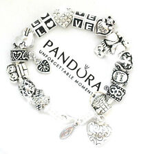 Authentic Pandora 925 Silver Charm Bracelet and European Charms  Crystal Heart