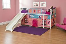 Kids Girls Twin Size Bunk Bed Slide Loft Child Bedroom Princess Castle Playhouse