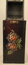 Wood Wine Box Single Bottle Dark Brown w/ Grapes Hinged Top Latch  Holder