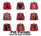 Purse with dog design - measures 9.5 x 9.5cm - various breeds available
