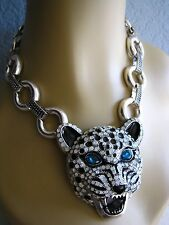 BETSEY JOHNSON WHITEOUT SNOW LEOPARD SILVER TONE RUNWAY STATEMENT NECKLACE~NWT