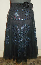 Moschino Cheap and Chic Size 8 Black Knee Length Skirt with Flower Sequin Motifs