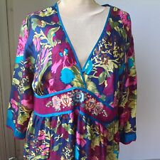 Johnny Was designer tunic silk blouse BOHO XL washable NWOT Asian inspired