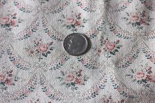 Antique Tiny Doll Scale French Roses & Ribbons Textile Fabric c. 1880