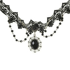 Fashion Lolita Gothic Black Rose Flower Lace Choker Collar Necklace BeadsChainFG