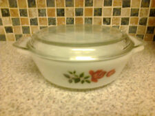 VINTAGE JAJ PYREX CASSEROLE DISH + LID FOR 1 PERSON RED ROSE BUD DESIGN