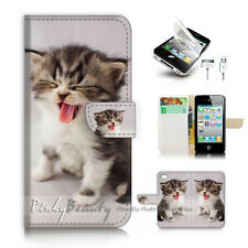 iPhone 4 4S Flip Wallet Case Cover! P2202 Pussy Cat