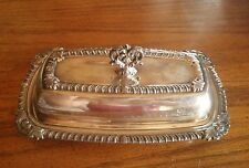 Vintage National Silver Co.1095 Silverplate Crown Butter Dish /Glass Insert
