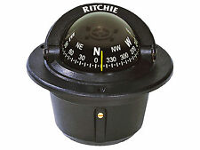 NEW F50 BLACK EXPLORER FLUSH MOUNT MARINE COMPASS FOR POWER BOAT - RITCHIE F-50