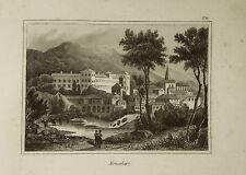 TORINO.Moncalieri Veduta.PIEMONTE,TURIN.AUDOT.Acciaio.ETNA.1837