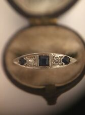 Antique Victorian 18ct Yellow Gold And Platinum Diamond Sapphire Ring