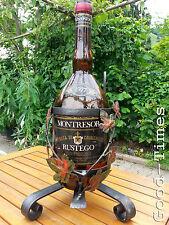 70er  Schmiedeeisen Kippständer Flaschenständer mit Flasche   für 3 L Flaschen