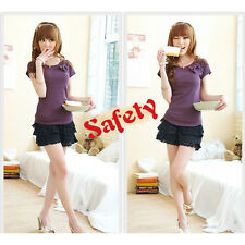Sexy Lady's Women Fashion Mini Lace Tiered Short Skirt Under Safety Pants Shorts