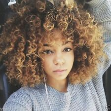 Towheaded Short Afro Curly Mixed Color Side Bang Women's Synthetic Hair Wig