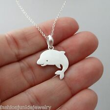 Dolphin Necklace - 925 Sterling Silver - Dolphin Charm Pendant Sea Animal NEW