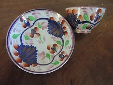 Antique 19th century English Pearlware Gaudy Welsh Tea Cup Bowl & Saucer Lustre