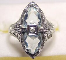 Art Deco 18K 750 Solid White Gold Filigree Aquamarine & Diamond Ring Antique VTG