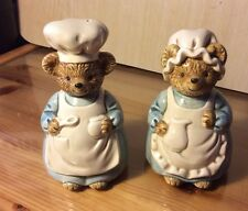 TEDDY BEAR CHEF AND COOK NOVELTY CERAMIC SALT & PEPPER POTS