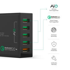 AUKEY PA-T1 4+1 5-Port 54W USB Wall Charger with Quick Charge 2.0 Port EU Plug
