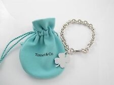 Tiffany & Co Silver Clover Leaf Charm Bracelet Bangle!