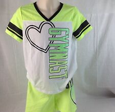 Justice Girls Gymnast Neon Green Glitter Heart Outfit Shorts 12  Shirt 14 Outfit