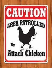 "TIN-UPS TIN SIGN ""Caution Attack Chicken"" Rooster Rustic Kitchen Wall Decor Farm"