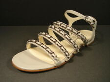 Chanel Grey Leather 4 Straps Silver Woven Chain CC Sandals Flats 36/5.5 New