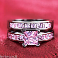 Hot Black gold filled Pink Sapphire Bridal Engagement birthstone Set Ring Size 7