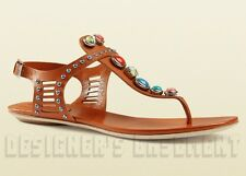 GUCCI orange 37 leather LIKA Laser-Cut STONE detail Thong sandals NIB Auth $850!