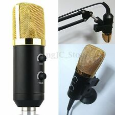 Audio USB Condenser Sound Studio Recording Vocal Mic Microphone With Stand Mount